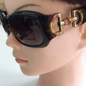 GUCCI Bamboo Horsebit Sunglasses Brown